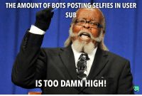 User, High, and Too Damn High: THE AMOUNT OF BOTS POSTING SELFIES IN USER  SUB  IS TOO DAMN HIGH