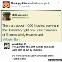 Family, Memes, and Zero: The Angry Liberal added a new photo.  Mar 6 at 7:27pm 3  Matt Mountain  @lmMattMountain  There are about 4,000 Muslims serving in  the US military right now. Zero members  of Trump's family have served  #MuslimBan  Amiri King  99.6 percent of recent suicide bombings  were carried out by Muslims.  0% were carried out by a member of the  Trump family.  @ americafirst stupiddemocrats illegalimmigrants patriotsgirl conservativeparty donaldtrumphair illegalaliens nojihad fakenews