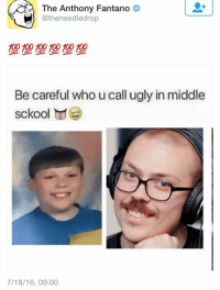 The Anthony Fantano  @theneedledrop  100 100 100 100 100  Be careful who u call ugly in middle  sckool  7/18/16, 09:00 when fantano steals your memes for his Twitter.... I let it slide the first time but this is too far.  I put too much effort in my memes to be disrespected like this. The Needle Drop bout to catch these hands
