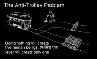 .: The Anti-Trolley Problem  Doing nothing will create  five human beings, pulling the  lever will create only one .