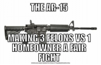 Meme, Memes, and Http: THE AR-15  MAKING 3 FELONSUS 1  HOMEOWNER A FAIR  FIGHT  DOWNLOAD MEME GENERATORFROM HTTP:llMEMECRUNCHUCOM