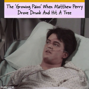 Remember the 'Growing Pains' when Matthew Perry drove drunk and hit a tree? It was a very special episode.: The 'arowing Pains' When Matthew Perry  Drove Drunk And Hit A Tree  FUNNYSDIE Remember the 'Growing Pains' when Matthew Perry drove drunk and hit a tree? It was a very special episode.
