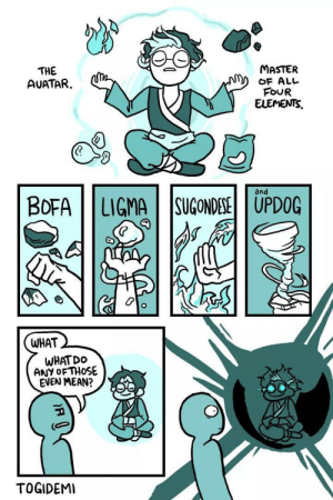 Ligma my ballz by Red_Flowers FOLLOW HERE 4 MORE MEMES.: THE  AUATAR.  MASTER  oF ALL  FOUR  and  BOFA | | LIGMA | |SUGONDESEİ | UPDOG  WHAT  WHAT DO  ANY oFTHOSE  EVEN MEAN?  TOGIDEMI Ligma my ballz by Red_Flowers FOLLOW HERE 4 MORE MEMES.
