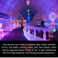 martini glasses: The Aurora Ice Hotel in Alaska was made entirely  of ice. Ice walls, ceiling, beds, bar, bar-stools, even  martini glasses were made of ice. It was closed by  the Fire Marshall for not having smoke detectors.  fb.com/facts Weird