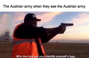 Army, Fuck, and History: The Austrian army when they see the Austrian army  Who the fuck are you, identify yourself n*gga At least Austria won the battle