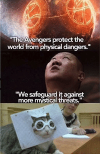 """Avengers roll out: The Avengers protect the  world from physical dangers.""""  We safequard it against  more mystical threats,"""" Avengers roll out"""