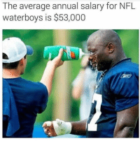Memes, 🤖, and Waterboy: The average annual salary for NFL  waterboys is $53,000