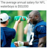 Funny, All That, and Waterboy: The average annual salary for NFL  waterboys is $53,000 Dammm all that school for nothing 😖