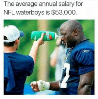 Definitely, Memes, and Nfl: The average annual salary for  NFL waterboys is $53,000. Definitely in the wrong profession... NFL NflNChill NFLSunday Seahawks Waterboy