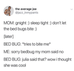 I thought we had a deal: the average joe  @jazz_inmypants  MOM: gnight:) sleep tight) don't let  the bed bugs bite :)  [later]  BED BUG: *tries to bite me*  ME: sorry bedbug my mom said no  BED BUG: julia said that? wow i thought  she was cool I thought we had a deal