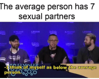 Virginity Overload: The average person has 7  sexual partners  itch  LEGION  mcon  KDIST  ON  witch  zmcon  LEGION  -I think of myself as below the average  person oo Virginity Overload