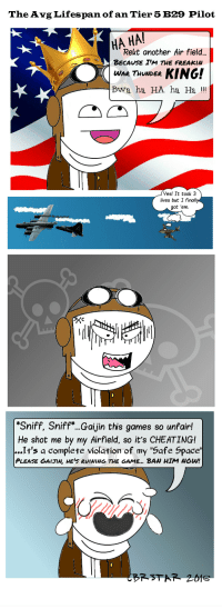 """Some Tier 5 Bomber Players are just...: The Avg Lifespan of an Tier 5 B29 Pilot  HA HA!  Rekt another Air field...  BECAUSE IM THE FREAKIN  WAR THUNDER  KING!  Bwa ha HA ha Ha  Yes! It took 3  lives but I finall  got 'em.  Sniff, Sniff ...Gaijin this games so unfairl  He shot me by my Airfield, so it's CHEATINGI  It's a complete violation of my """"Safe Space'  PLEASE GAIHN HEIS RUINING THE GAME... BAN HIM Nou!  BR STAR Some Tier 5 Bomber Players are just..."""