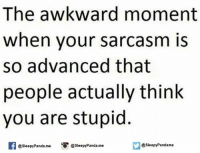 Memes, Panda, and Awkward: The awkward moment  when your sarcasm is  so advanced that  people actually think  you are stupid  @sleepyPanda me  @Sleepy Pandame  @sleepy Panda me