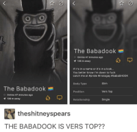 Babadook: The Babadook  O Online 47 minutes ago  136 m away  If it's in a name or it's in a look...  You better know I'm down to fuck  catch me at #pride #instagay #babasHooK  Slim  Body Type  The Babadook  Position  Vers Top  O Online 47 minutes ago  136 m away  Relationship  Single  theshitneyspears  THE BABADOOK IS VERS TOP