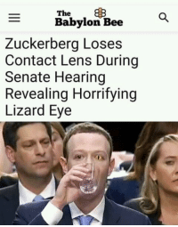 "Dank, Meme, and Ugly: The  Babylon Bee  Zuckerberg Loses  Contact Lens During  Senate Hearing  Revealing Horrifying  Lizard Eye <p>ugly reptilian via /r/dank_meme <a href=""https://ift.tt/2v3SdKq"">https://ift.tt/2v3SdKq</a></p>"