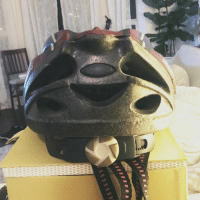 Sloth, Faces-In-Things, and Back: The back of this bike helmet looks like the happiest sloth! https://t.co/HuQBJwUA9H