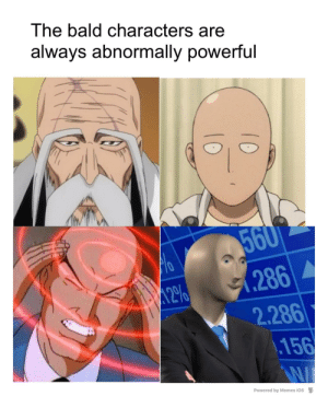 The baldest, the stonkest: The bald characters are  always abnormally powerful  560  .286  2.286  .156  12%  Powered by Memes iOS  10  10 The baldest, the stonkest