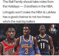 💯: The Ball Family should take notes from  the Holidays3 brothers in the NBA.  LiAngelo won't make the NBA & LaMelo  has a good chance to not too Imaoo  who's the real big ballers  NEVER  STOPS  UCLA 💯