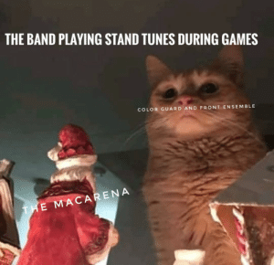 Heeey macarena: THE BAND PLAYING STAND TUNES DURING GAMES  COLOR GUARD AND FRONT ENSEMBLE  THE MACARENA Heeey macarena