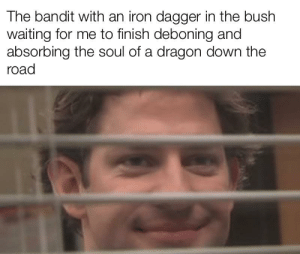 I should have never came here: The bandit with an iron dagger in the bush  waiting for me to finish deboning and  absorbing the soul of a dragon down the  road I should have never came here