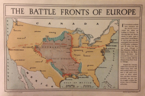 "land-of-maps:  ""The Battlefronts of Europe"", 1917, a superimposed and Mercator-adjusted image of the four major European WWI battlefronts on the contiguous United States [1546 x 1028]: THE BATTLE FRONTS OF EUROPE !  C:  T is not always realised  how extensive are  the battle fronts  which the Allies are  holding in Europe. In  this map they are shown  drawn to scale upon a  map of the United States  It will be seen that the  total battle front amounts  to 2,195 miles-a distance  W YORKonly 95 miles less than  that from Chicago to  San Francisco, while the  battle front in the West,  where Germany has  SEATTLE  PORTLAND  OHELENA  BISMARCK  BoISE CITY  STON  BUFFALO  DENCE  DETROI  o to Sanrancisco 2290 rhiiles  POLANID  CLEVELANDmil NE  -3a  SALT LAKE CITY'  PITTSBURG  LADELPHIA  ,,  AN FRANCISCO  INDIANAPOL  昌 -NCİNNATI  MORE  HINGTON  LOUİSVILLE  massed her heaviest  forces, is nearly half the  distance from New York  to Chicago.  AUS TRIA-HUNGARY  OLO8 ANGELES  SANTA FE  Despite the victories  TLANTA  which have crowned the  Allied arms, their task  still remains a heavy one,  and it will need every  ounce of effort which  they, and their American  comrades, can put into  the struggle to defeat the  sinister aims of Prussian  militarism.  HARLESTOH  SAVANNAH  PEL PASO  EW ORLEANS  GALVESTON  GULFOF MERIcO  c o  English Miles  0200500400 00 200 300 400 B0o  Kilometres  ROSERTS & LEETELONDON land-of-maps:  ""The Battlefronts of Europe"", 1917, a superimposed and Mercator-adjusted image of the four major European WWI battlefronts on the contiguous United States [1546 x 1028]"