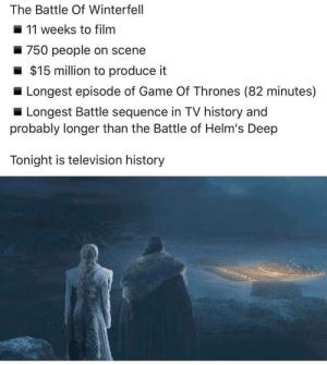 What an episode 🙌 Thank you, @HBO! #GameOfThrones https://t.co/HDn3ssOhgC: The Battle Of Winterfell  11 weeks to filnm  750 people on scene  $15 million to produce it  Longest episode of Game Of Thrones (82 minutes)  Longest Battle sequence in TV history and  probably longer than the Battle of Helm's Deep  Tonight is television history What an episode 🙌 Thank you, @HBO! #GameOfThrones https://t.co/HDn3ssOhgC