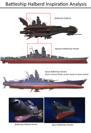 The Battleship Halberd likely took direct inspiration from the real life Japanese warship, Battleship Yamato as well as its fictional space counterpart. Here is my analysis 🤔: The Battleship Halberd likely took direct inspiration from the real life Japanese warship, Battleship Yamato as well as its fictional space counterpart. Here is my analysis 🤔