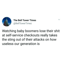 "Memes, Shit, and Http: The Bell Tower Times  @BellTowerTimez  Watching baby boomers lose their shit  at self-service checkouts really takes  the sting out of their attacks on how  useless our generation is <p>&ldquo;Unexpected item in the bagging area&rdquo; via /r/memes <a href=""http://ift.tt/2oaul1C"">http://ift.tt/2oaul1C</a></p>"