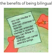 😂😂😂  Follow us Mexican Problems 👈🏼: the benefits of being bilingual  in  insultar in  Spanish  chismear Spanish  entender  memes in Spanish  can cantar  Selena's 😂😂😂  Follow us Mexican Problems 👈🏼