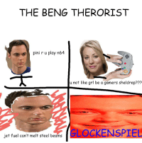 Jets, The Big Bang Theory, and Steel: THE BENG THERORIST  pini r u play n64  u not like grl be a gamers sheldrep???  jet fuel can't melt steel beams  GLOCKENSPIEL PeNeyY Gamer Grill