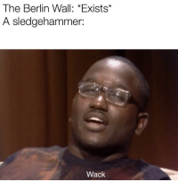 Be Like, Wack, and Berlin: The Berlin Wall: *Exists*  A sledgehammer:  Wack It really do be like that