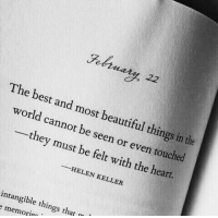 Beautiful, Best, and Heart: The best and most beautiful things in the  world cannot be seen or even touched  they must be felt with the heart.  HELEN KELLER  intangible things that  memorte