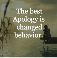 Apology: The best  Apology is  changed  behavior.