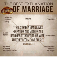 """genesys: THE BEST EXPLANATION  F MARRIAGE  Model of a  Maturity  Transition  complete  family  """"THISNS WHY AMAN LEAVES  A new  HIS FATHER AND MOTHER AND  family  BECOMES ATTACHED TO HIS WIFE  Complement  AND THEY BECOMEONEFLESH""""  GENESIS 2: 24  A process  Deep intimacy  of learning,  between  friendship and trust  two people"""