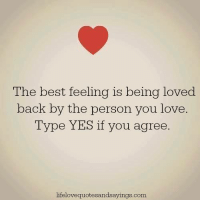 Love, Memes, and Best: The best feeling is being loved  back by the person you love.  Type YES if you agree  lifelovequotesandsayings.com Take this 60 second quiz and find out path to love and relationship success => http://bit.ly/sweetzs