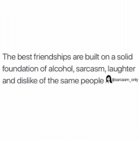Funny, Memes, and Alcohol: The best friendships are built on a solid  foundation of alcohol, sarcasm, laughter  and dislike of the same people Resarcasm.nly SarcasmOnly