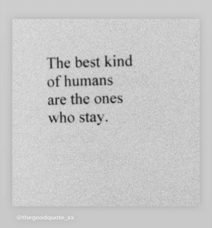 Best Kind: The best kind  of humans  are the ones  who stay  @thegoodquote_xx