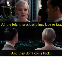 Memes, Precious, and The Great Gatsby: THE BEST MOVIE LINES  All the bright, precious things fade so fast.  And they don't come back. - The Great Gatsby 2013
