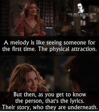 """Facebook, Memes, and Music: THE BEST MOVIE LINES  facebook.com/Thebestmovielines  A melody is like seeing someone for  the first time. The physical attraction.  But then, as you get to know  the person, that's the lyrics  Their story, who they are underneath. """"... It's the combination of the two that makes it magic.""""  - Music and Lyrics 2007"""