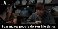 - Harry Potter and the Order of the Phoenix 2007: THE BEST MOVIE LINES  Fear makes people do terrible things. - Harry Potter and the Order of the Phoenix 2007
