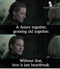Future, Love, and Memes: THE BEST MOVIE LINES  lt  A future together,  growing old together.  lt  Without that,  love is just heartbreak. - The Age of Adaline 2015
