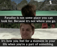 - The Beach 2000: THE BEST MOVIE LINES  Paradise is not some place you can  look for. Because it's not where you go.  It's how you feel for a moment in your  life when you're a part of something. - The Beach 2000