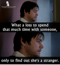 Memes, Movies, and Best: THE BEST MOVIE LINES  What a loss to spend  that much time with someone,  only to find out she's a stranger. - Eternal Sunshine of the Spotless Mind 2004