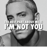 "Eminem, Fire, and Memes: THE BEST PART ABOUT ME i  M NOT YOU  EMINEMQUOTE IG Did you know Royce Da 5'9 gave Eminem the nickname Fire Marshall because he ""shuts shit down""? COMMENT WHAT QUOTE YOU WANT TO SEE NEXT! Also like your favorite quote and we'll post the most liked one up next. legend eminem slimshady marshallmathers quote quotes rapper rap"