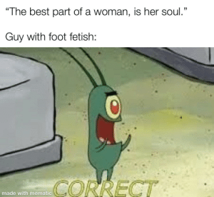 "I think they might've misunderstood: ""The best part of a woman, is her soul.""  Guy with foot fetish:  CORRECT  made with mematic I think they might've misunderstood"