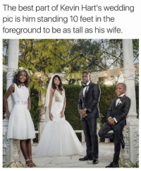 foreground: The best part of Kevin Hart's wedding  pic is him standing 10 feet in the  foreground to be as tall as his wife.