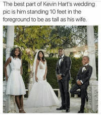 Nigga got the slick angle! 😂😂😂: The best part of Kevin Hart's wedding  pic is him standing 10 feet in the  foreground to be as tall as his wife. Nigga got the slick angle! 😂😂😂