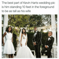 😂😂😂: The best part of Kevin Harts wedding pic  is him standing 10 feet in the foreground  to be as tall as his wife 😂😂😂