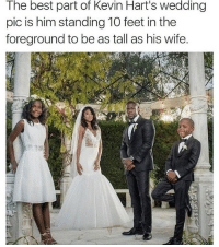 You're not fooling anyone @kevinhart4real 😂😂 - Follow (@savagecomedy) For More! 😂: The best part of Kevin Hart's wedding  pic is him standing 10 feet in the  foreground to be as tall as his wife. You're not fooling anyone @kevinhart4real 😂😂 - Follow (@savagecomedy) For More! 😂