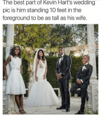 @hilarioushumanitarian 😂😂: The best part of Kevin Hart's Wedding  pic is him standing 10 feet in the  foreground to be as tall as his wife. @hilarioushumanitarian 😂😂
